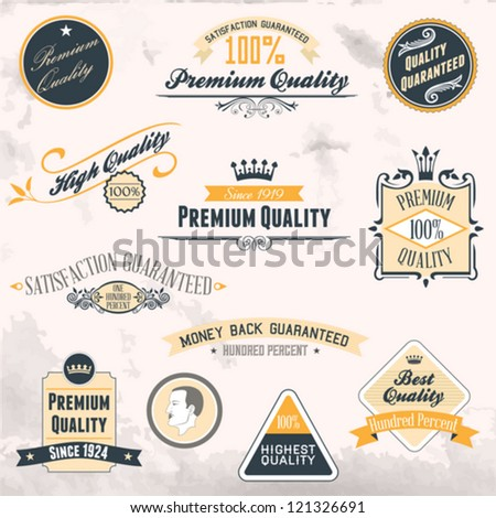 Premium Quality and Guarantee Labels collection with retro vintage - stock vector