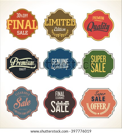 Premium Quality and Guarantee Labels with retro vintage styled design - stock vector