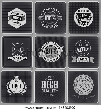 Premium Quality and sale Labels  and typography design drawing with chalk on blackboard - stock vector