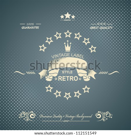 Premium Quality and Satisfaction Guarantee Label on Vintage Background - stock vector