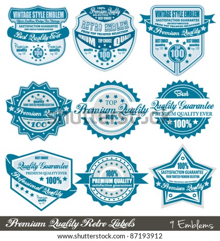 Premium Quality and Satisfaction Guarantee labels with retro graphic style and delicate colours. - stock vector
