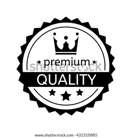 Premium quality badge on white background, rubber stamp award, flat design label - vector illustration - stock vector
