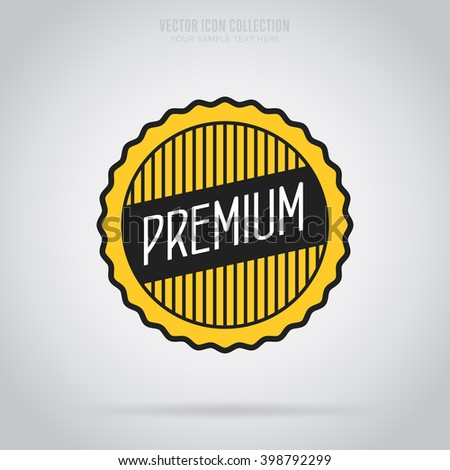 Premium quality badge. Premium quality label isolated. Premium quality vector in flat design style. Premium quality icon. Premium quality sign. Premium quality symbol. Quality modern stamp. - stock vector