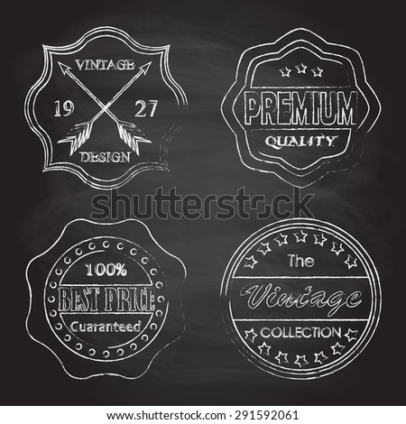 Premium quality, best price, vintage design badges and labels set isolated on blackboard texture with chalk rubbed  background. Vector illustration. - stock vector