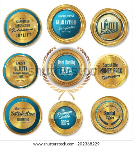 Premium quality blue and gold labels - stock vector