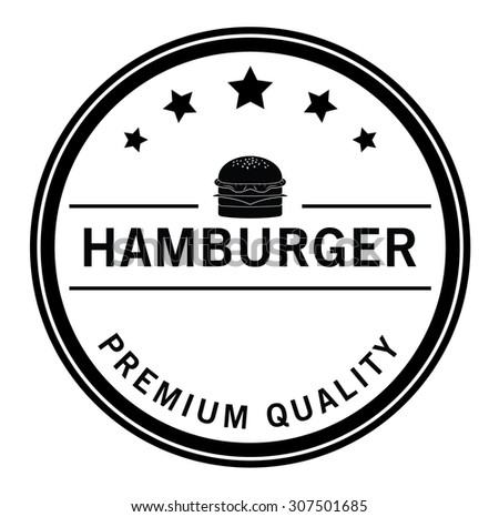 Premium quality Burger,french fries & soft drink badge - stock vector