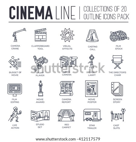Premium quality cinema industry thin line design set. Filming minimalistic symbol pack. Outline movie technology template of icon, typography, logo, pictogram and illustration concept background - stock vector