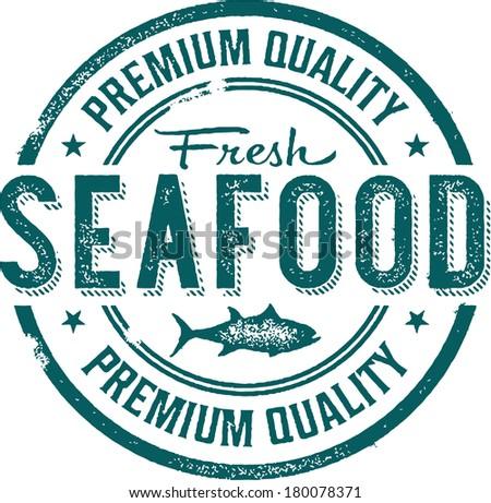Premium Quality Fresh Seafood Stamp - stock vector