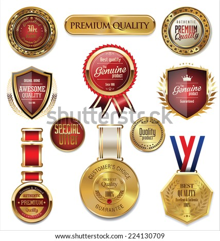 Premium quality gold and red medal collection - stock vector