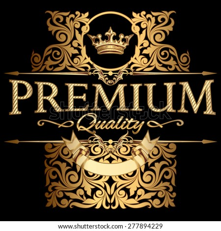 Premium quality gold emblem - stock vector