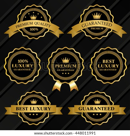 premium quality gold vector badges and labels - stock vector