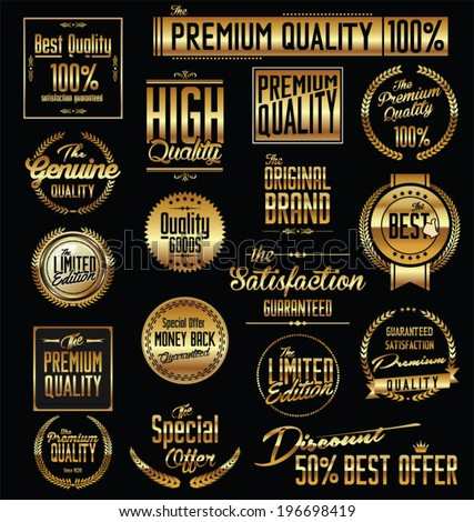 Premium quality golden badges - stock vector
