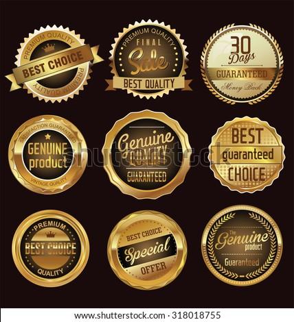 Premium quality golden badges - stock vector