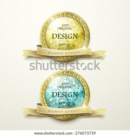 premium quality golden labels with diamond elements over beige background - stock vector
