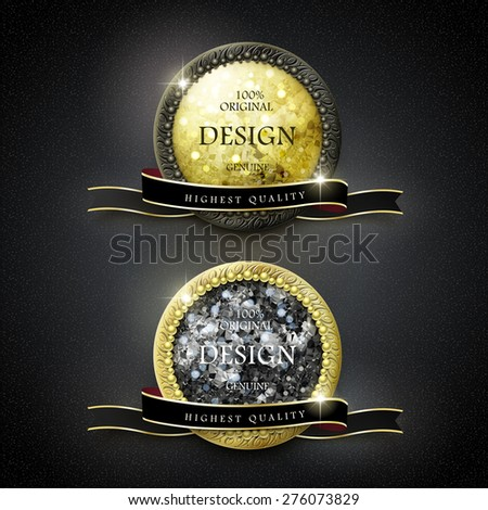 premium quality golden labels with diamond elements over black background - stock vector