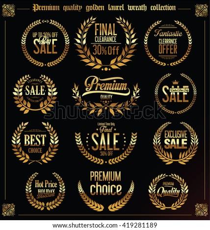 Premium quality golden laurel wreath collection - stock vector
