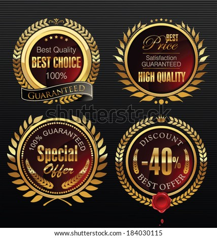 Premium quality golden medallion with laurel wreath - stock vector