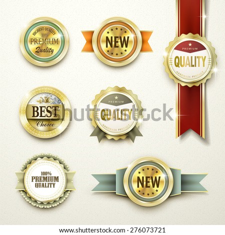 premium quality gorgeous golden labels collection over beige - stock vector