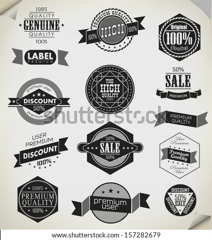 Premium Quality, Guarantee and sale Labels/ typography design - stock vector