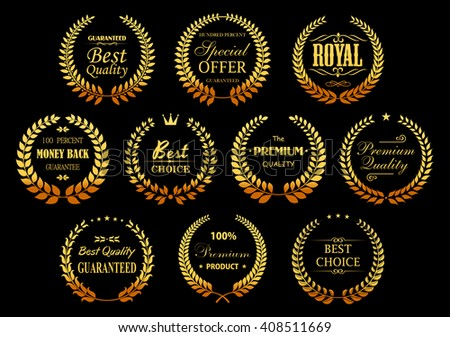 Premium quality guarantee golden laurel wreaths symbols with circle badges, composed from gold branches with stars, crowns and vignettes decorative elements. Retail, sale, promotion design usage  - stock vector