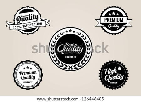 Premium Quality & Guarantee Labels and Badges - retro vintage style - stock vector