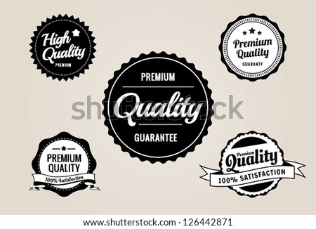 Premium Quality & Guarantee Labels - retro style design - stock vector