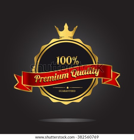 Premium quality guaranteed golden label. Premium quality golden badge, vector illustration - stock vector
