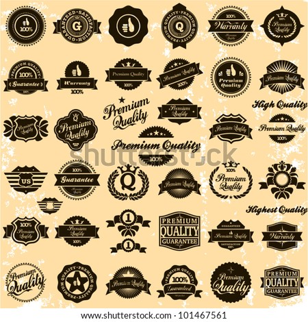 Premium Quality, High quality and Guarantee Labels retro vintage style design. 100% vector sign set. - stock vector