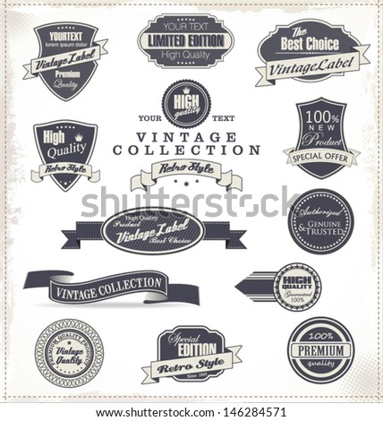 Premium Quality Labels - Collection - stock vector