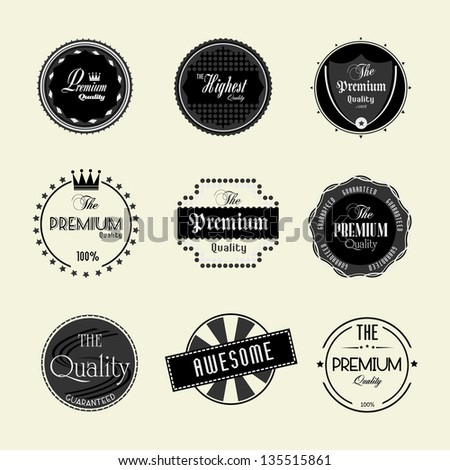 Premium quality labels set - stock vector