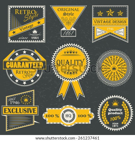 Premium quality labels. Set of retro labels. Retro Vintage Design. Vintage collection    - stock vector