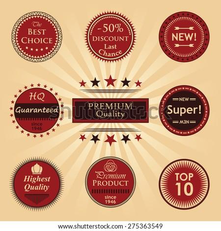 Premium quality labels set. Original Design. Round labels       - stock vector