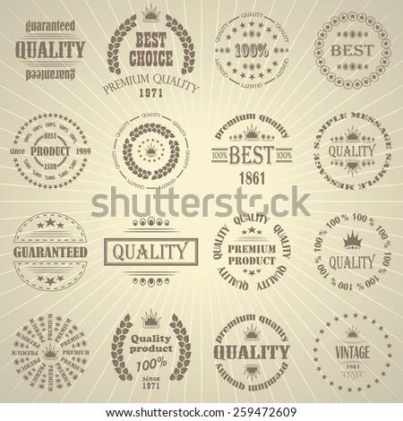 Premium quality labels set. Retro Vintage Design           - stock vector