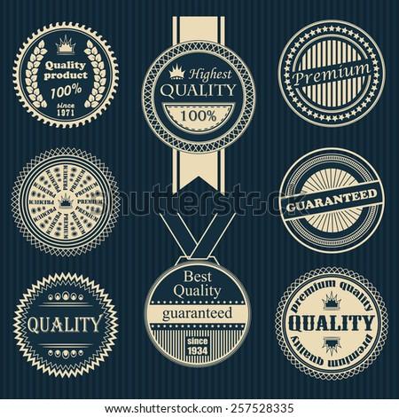 Premium quality labels set. Retro Vintage Design. Round labels and icons     - stock vector