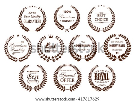 Premium quality laurel wreaths with branches, arranged into circle frames with text Best Choice and Special Offer, Premium Product and Money Back Guarantee, adorned by  crowns and vintage dividers - stock vector