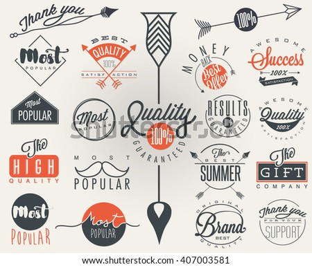 Premium Quality, Most Popular labels collection. - stock vector