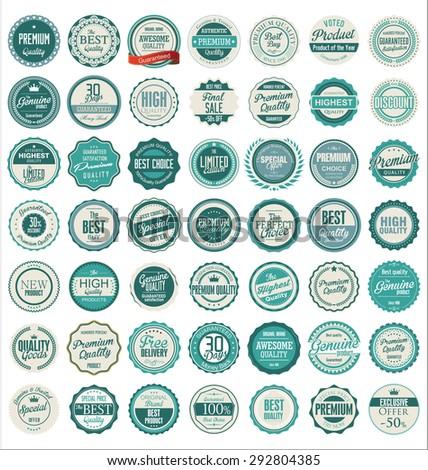 Premium quality retro badges - stock vector