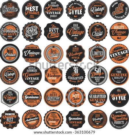 Premium Quality retro badges collection - stock vector