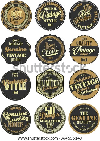 Premium Quality retro badges collection black and brown set - stock vector