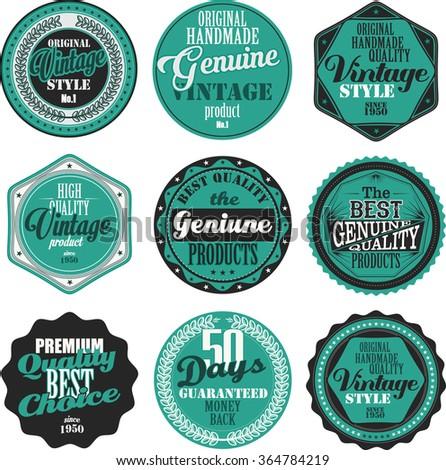 Premium Quality retro badges collection blue set - stock vector