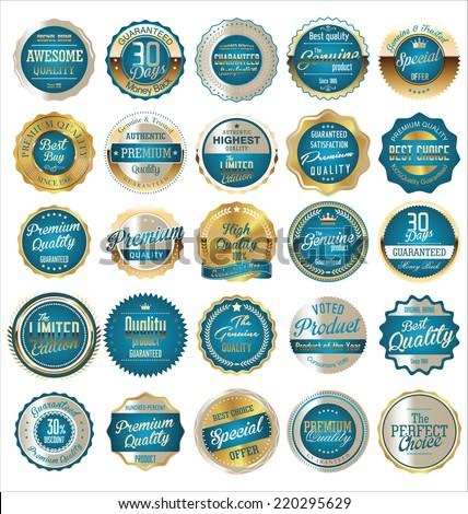 Premium, quality retro vintage golden labels collection - stock vector
