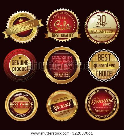 Premium, quality retro vintage labels collection - stock vector