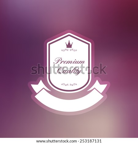 premium quality retro vintage logo label on blurred background - stock vector
