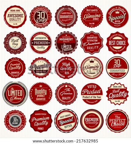 Premium, quality retro vintage red labels collection - stock vector