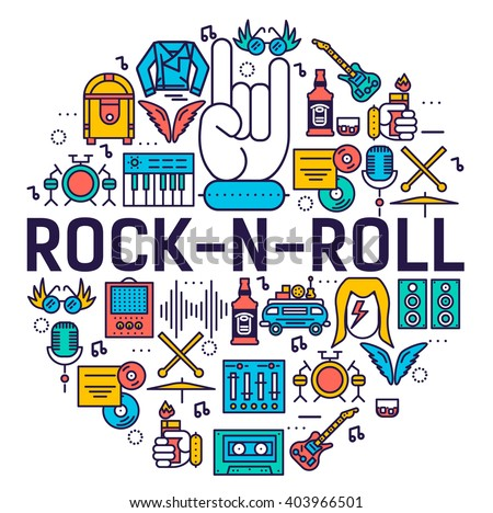 Premium quality ROCK'N'ROLL outline icons collection set.  Music equipment linear symbol pack. Modern template of thin line logo, symbols, pictogram and flat illustrations concept.  - stock vector