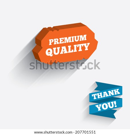 Premium quality sign icon. Special offer symbol. White icon on orange 3D piece of wall. Carved in stone with long flat shadow. Vector