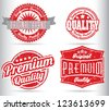 premium quality vintage labels with removable grunge effect - stock vector