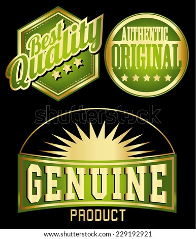 premium quality vintage labels with ribbons in gold deep green color  - stock vector