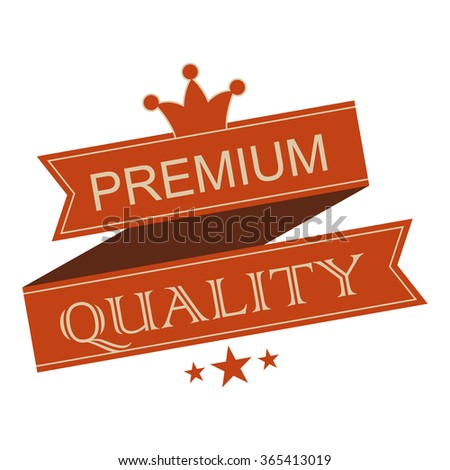 Premium quality vintage ribbon banner. Brown retro ribbon with crown on a white background - stock vector