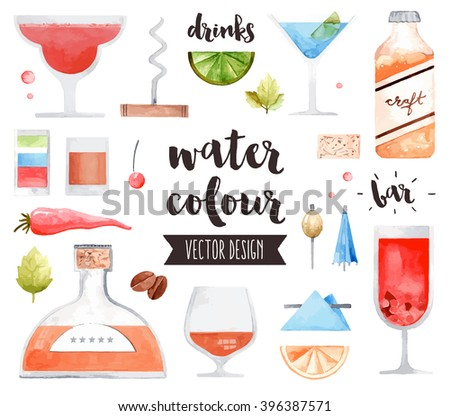 Premium quality watercolor icons set of alcohol drinks and various bar cocktails. Hand drawn realistic vector decoration with text lettering. Flat lay watercolor objects isolated on white background. - stock vector